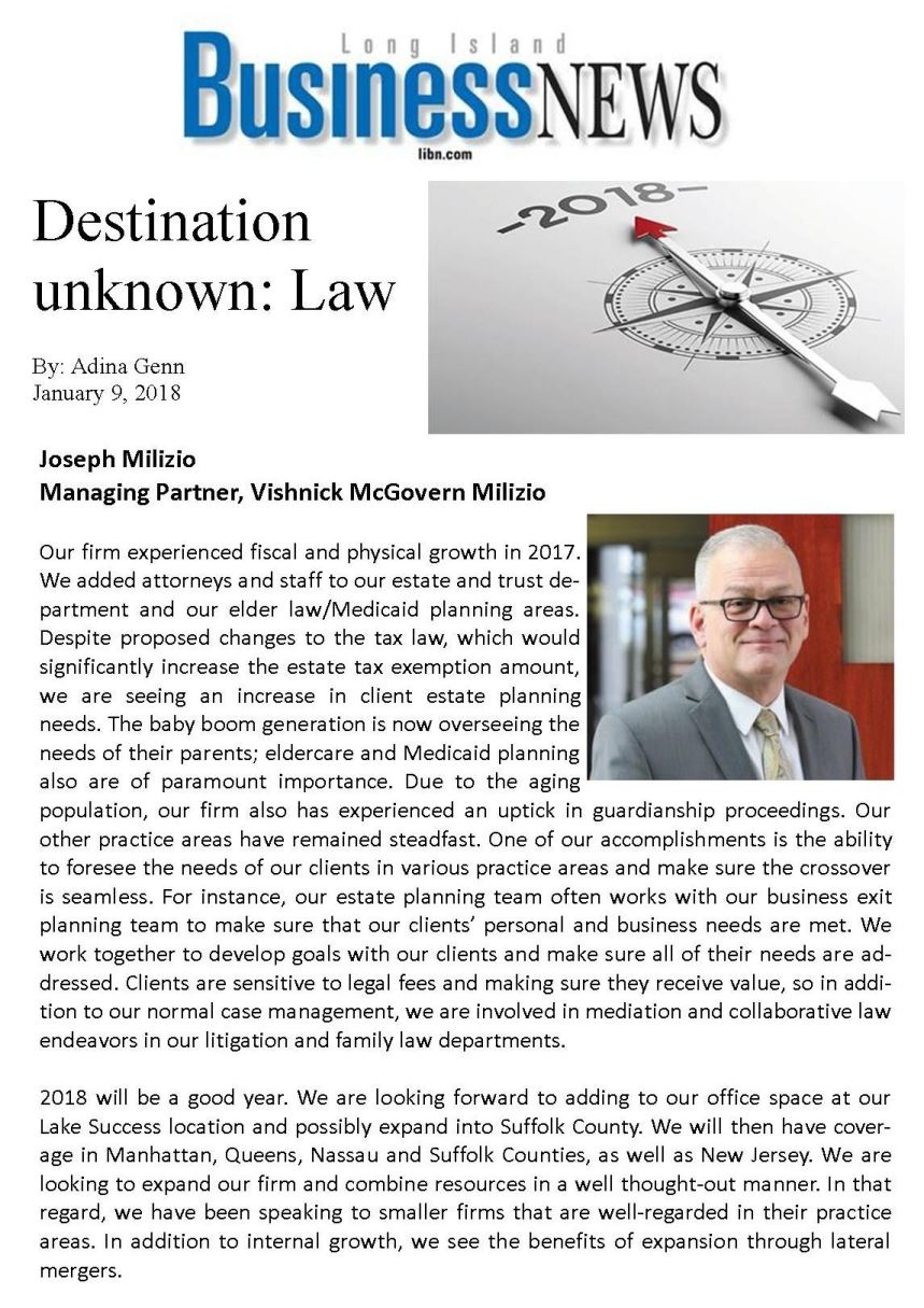 Long Island Business News- Destination Unknown: Law